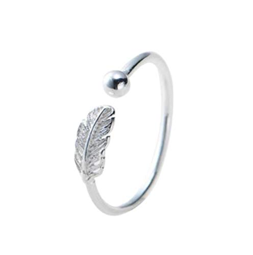 (FUYY Individual Korean Handwear Feather Lovely Opening Ring(Silver-Plated-Base Adjustable))