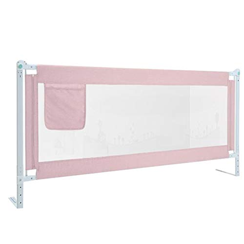 (WHAIYAO-Bed rails Guard Convertible Crib Fence Mesh Vertical Lift Bed Rails for Toddlers Safe Sleep, 2 Colors, 4 Sizes (Color : Pink, Size : 200X86CM))