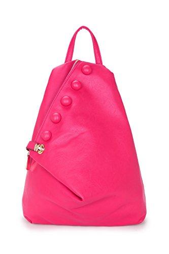 Mujer Bolso de Estilo Mochila grande con botón de cierre y cierre de cremallera Rosa - Z13169 Rose Pink