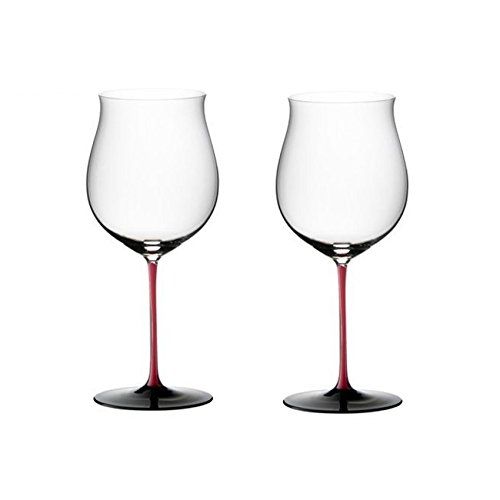 Riedel Sommeliers R-Black Series Leaded Crystal Burgundy Grand Cru Wine Glass, Set of 2 by Riedel