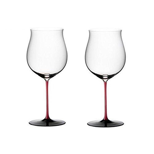 Riedel Sommeliers R-Black Series Leaded Crystal Burgundy Grand Cru Wine Glass, Set of 2