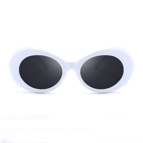 80s Mens Fashion (Armear Unisex Mod Style Oval Sunglasses White for Women Men Fashion Oversized Retro 80S Plastic Eyewear UV400)
