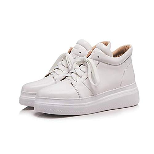 Blanco ZHZNVX Comfort Sneakers del Nappa Zapatos Primavera pie Negro Cerrado Black del Creepers Mujer Leather Dedo de Verano qHZwArq