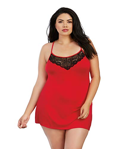 - Dreamgirl Women's Plus Size Soft Jersey Chemise with Lace Insets, Red/Black 1X