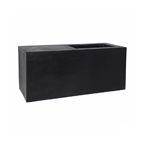 Pottery Pots Tall Large Black Rectangular Planter box Indoor & Outdoor | Elegant Commercial Grade Fiberstone 18