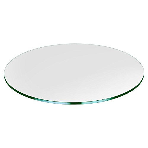 Dulles Glass and Mirror Glass Table Top, Flat Polish Edge, Tempered Glass, 27