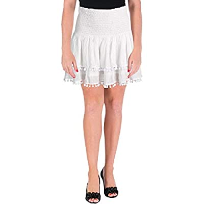 Aqua Womens Contrast Trim Layered Flare Skirt