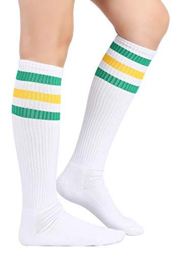 Eleray Thick Cushion Classic Triple Stripes Soft Cotton White Knee High Retro Tube Socks (Green/Yellow/White) -