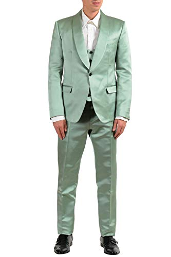 Dolce & Gabbana Three Button Suit - Dolce & Gabbana Men's 100% Silk Green One Button Three Piece Suit US 42 IT 52