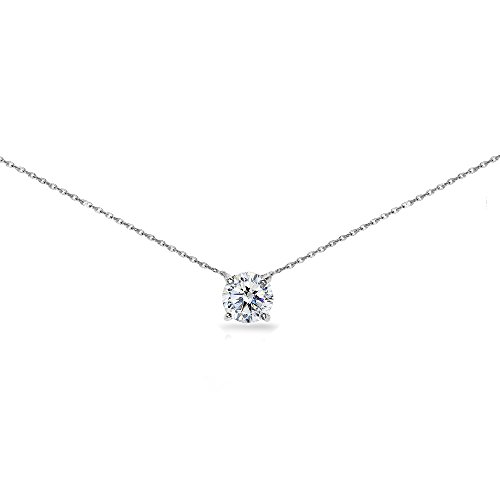 (Sterling Silver Clear Solitaire Choker Necklace Made with Swarovski Crystal)