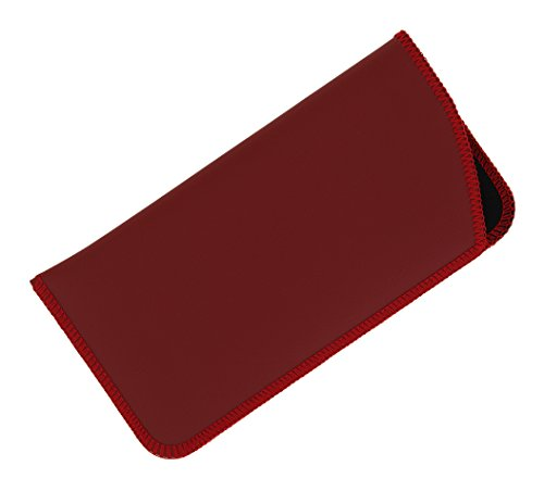 2 Pack Soft Eyeglass Slip Case For Women & Men, Faux Leather, Large, Red/Blue