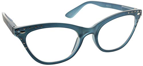 - Fiore Cateye Reading Glasses Rhinestone Clear Lens Readers for Women [Blue, 2.50]