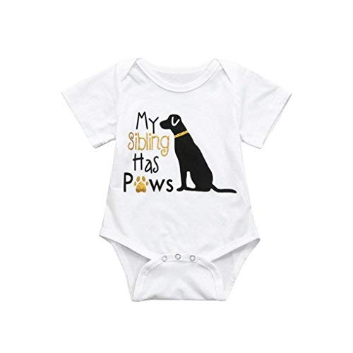 Toraway Toddler Infant Baby Romper Outfits Baby Boys Girls Cotton Dog Short Sleeve Romper Jumpsuit T-Shirt Tops Clothes Outfits (White, 100/12-18 Months)