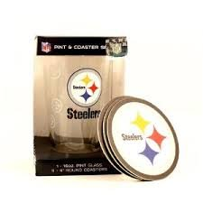(NFL Officially Licensed Pittsburgh Steelers Pint and Coaster Set)