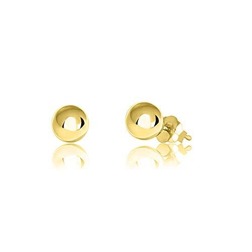 Verona Jewelers Womens 14K Gold Ball Earrings, Post Ball Stud Earrings- Bead Ball Stud Earrings for Women 3MM - 8MM (14K Yellow Gold, 5) 14k Italian Gold Beads