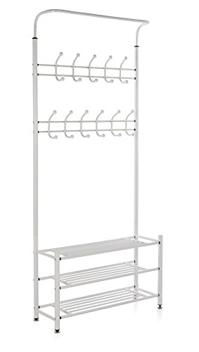 M.S. Premium Metal Hall Coat Rack Organizer with 3 Shelves, 18 Hooks, Free Standing Entryway Storage Bench, White