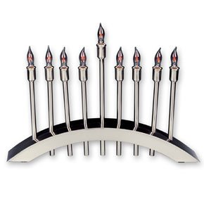 (Brushed Stainless Steel Electric Menorah)