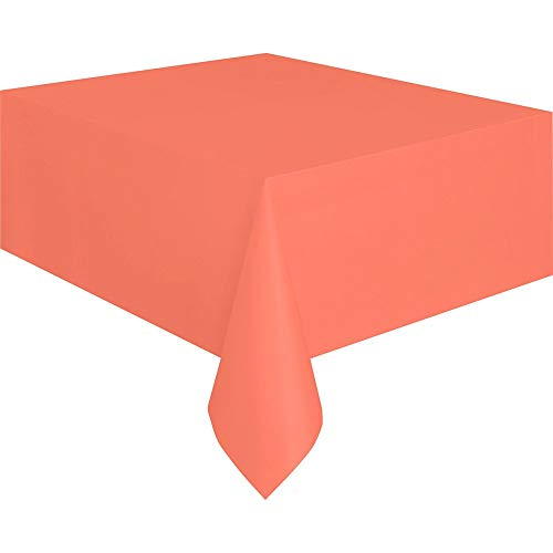 Unique Industries Plastic Tablecloth - 12 Pack (Coral, 108
