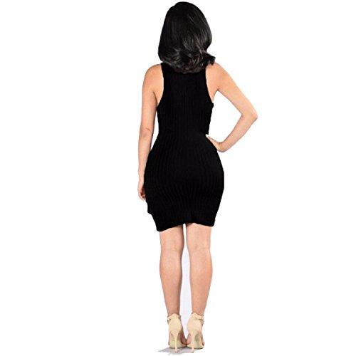 Mujeres Vestido Sin Mangas Con Cuello En V Color Sólido Multicolor De Varios Tamaños Black