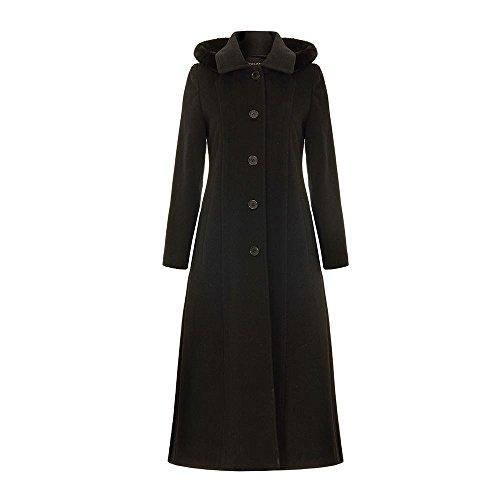 Noir laine Manteau Cachemire Détachable Anastasia Capuchon D'hiver Longue À fFaqx4Txw