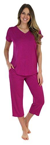 Pijama céu magenta manga curta gola v com capris (phbj1730-2056-xl)