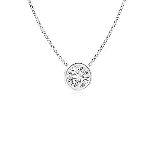 (Bezel-Set Round Diamond Solitaire Pendant in 14K White Gold (4.1mm Diamond))