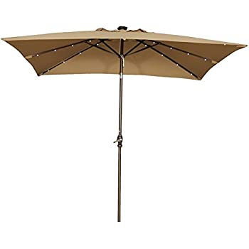 Abba Patio 7 By 9 Feet Rectangular Patio Umbrella With Solar Powered 32 LED  Lights With Tilt And Crank, Brown