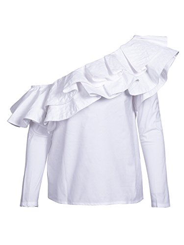 Simplee Women's Off Shoulder Ruffle Long Sleeve Striped Blouse Shirt Tops (Blouse Long Sleeve White Ruffle)