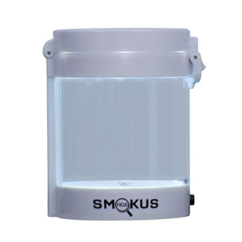 Smokus Focus Light-Up LED Air Tight Storage Magnifying Jar Viewing Container (Middleman, White)]()