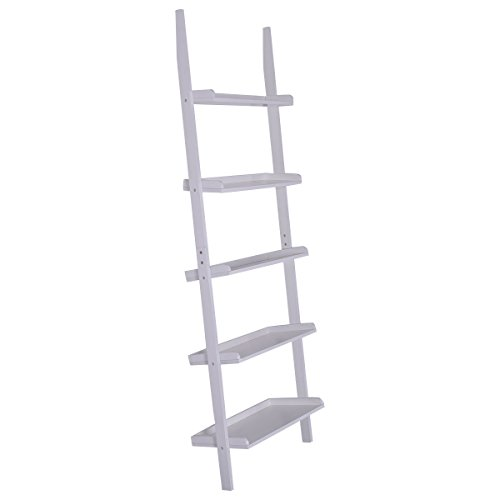 Tangkula 5-Tier Ladder Book Shelf Leaning Wall Shelf Bookcase Storage Display Furni (White)