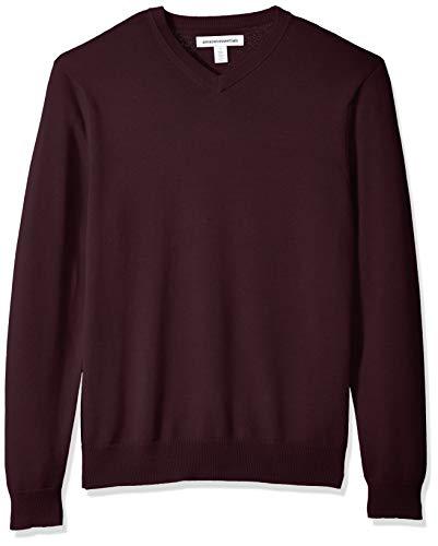 Amazon Essentials Men's V-Neck Sweater, Burgundy, Large