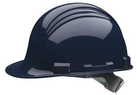 North Blue High Density Polyethylene Cap Style Hard Hat - 2-Point Strap Type - 4-Point Suspension - Ratchet Adjustment - Accessory Slots, Rain Gutters - A59R080000 [PRICE is per EACH]