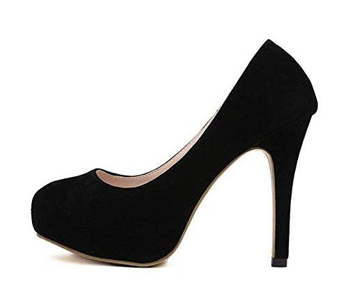 Easemax Womens Elegant Stiletto Round Toe Low Top Slip On Solid Platform High Heel Pumps Shoes Black 1uvp6NjTip