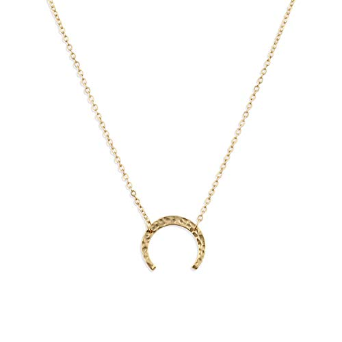 Fettero 14K Gold Fill Carved Half Crescent Moon Pendant Minimalist Chain Necklace