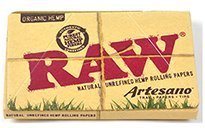 RAW Organic Natural Unrefined Hemp Rolling Papers - Artesano Tray Paper and Tips Pack - 1 1/4 Size - - Without J Juicy Glasses