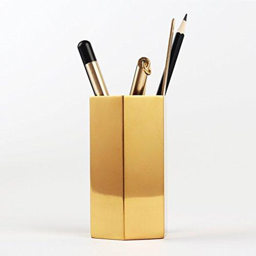 BESTOMZ Portalápices Hexágono de Metal para Lápices Cepillos Escuela Oficina (Dorado): Amazon.es: Hogar