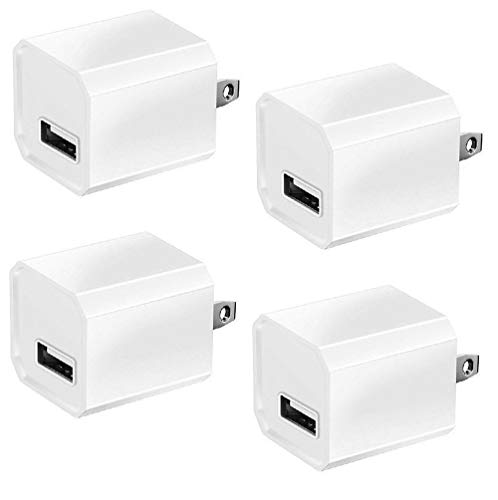 Charger Plug, 5V Universal Wall Charger Power Adapter High Speed Mini Cube 1A Output Plug for iPhone/iPod/Samsung HTC LG iPad Nokia & More Smartphones, 4 Pack, White