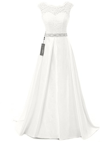 JAEDEN Vintage Wedding Dresses for Bride Simple Bridal Gown Cap Sleeve