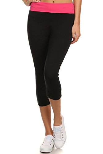 OPAS Yoga Capri with Fold Over Solid Waistband Pink-C ()