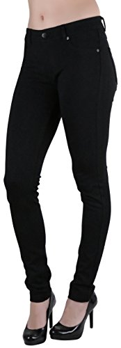 ToBeInStyle Women's Five Pocket Skinny Ponte Pants - Black - Large