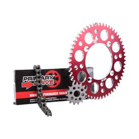 - Primary Drive HEAVY DUTY Chain and Sprocket Kit - 420 MC Chain - Red Rear Aluminum Sprocket - Front Steel Sprocket - Fits: HONDA CRF150R EXPERT 2007-2019- Stock or Custom Sizes