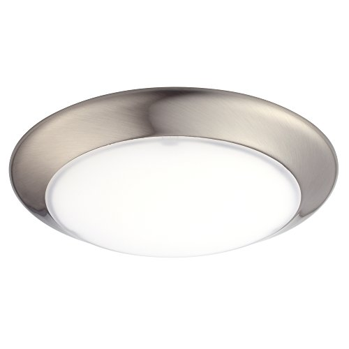 GetInLight 6 Inch LED Disk Light, Dimmable, Flush Mount or Recessed, Bright White 4000K, Brushed Nickel Finish, ETL Listed, Wet Location Rated, IN-0301-3-SN-40