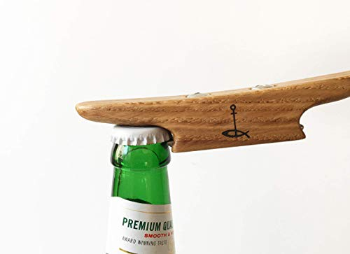 Wooden Boat Cleat Bottle Opener, Oiled Oak And Stainless Steel, Boat Gift ()