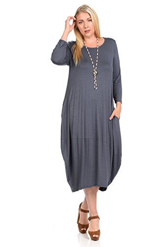 Pastel by Vivienne Women's Cocoon Midi Dress Plus Size XX-Large Cement