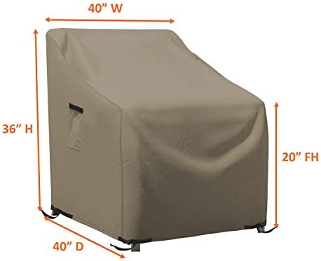 Outdoor Chair Cover 12 Oz Waterproof – 100 UV Weather Resistant – Customize Cover – Stackable Patio Chair Covers with Air Pockets and Drawstrap for Sung fit 40W x 40D x 36H, Beige