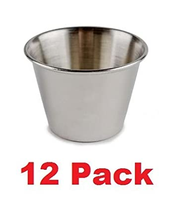 (Pack of 12) 4 oz. Stainless Steel Ramekin / Sauce Cup, Mirror Finish