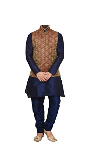 Mag Men's Nevy Blue Matching silk Kurta Churidhar With Maroon Waistcoat (RG-10809A-36) ()
