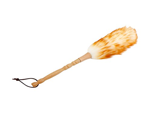 Premium Washable Lambs Wool Duster with Bamboo Handle, Long Soft Wool, 13 inch Length.