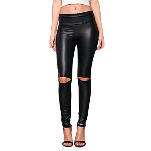 TIANMI 2019 Spring Deals,Women Knee Cut Ripped Hole, High Waisted Skinny Leather Leggings Tights Pants Black