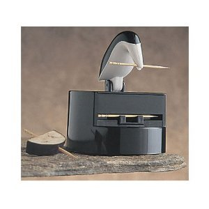 RSVP Willie Woodpicker Toothpick Dispenser with Black and White Penguin Pete Design